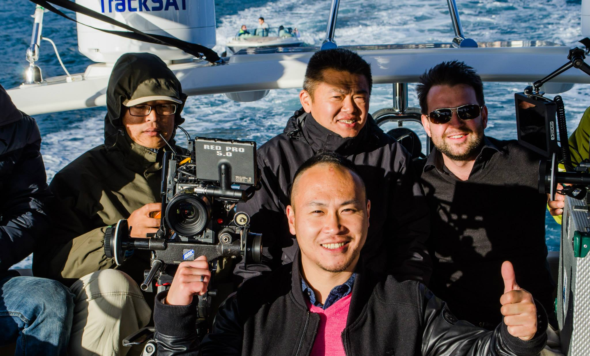 Filming in Sydney harbour with team from AMG